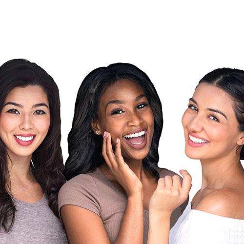 three women with white teeth